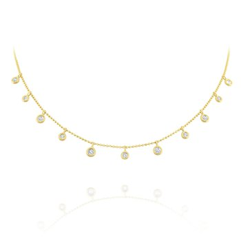 Diamond Dew Drop Necklace Set in 14 Kt. Gold