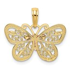 Quality Gold 14k Two-tone w/White Rhodium Diamond-cut Butterfly Pendant