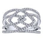 Gabriel Fashion 14K White Gold Wide Band Split Shank Pavé Diamond Ring
