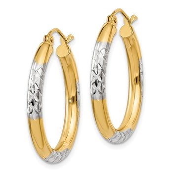 14K and Rhodium Diamond-cut 3x25mm Hoop Earrings