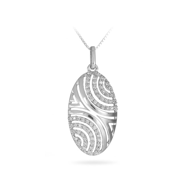 BB Impex 14K WG Diamond Oval Pendant