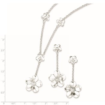 Sterling Silver Floral Necklace and Earring Set