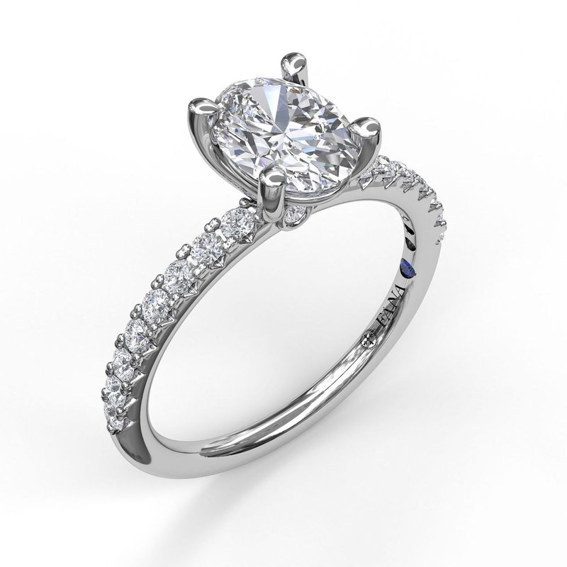 Fana Classic Single Row Engagement ring with an Oval Center Diamond.