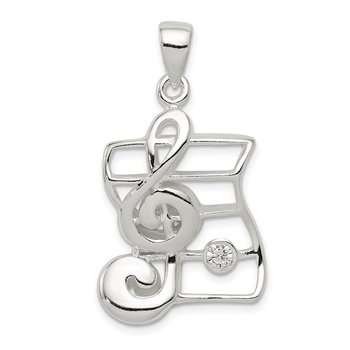 Sterling Silver Musical Charm w/CZ