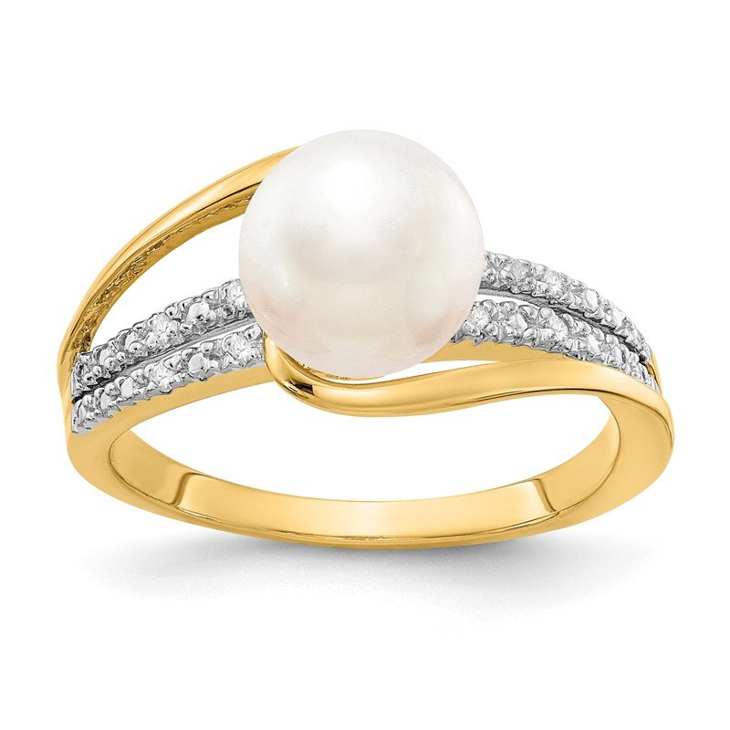 Quality Gold 14k Diamond and FW Cultured Pearl Ring
