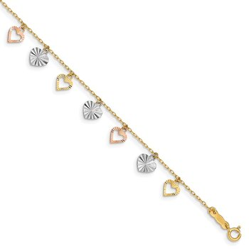 14K Tri-Color Heart Bracelet