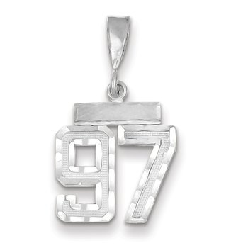 14k White Gold Small Diamond-cut Number 97 Charm