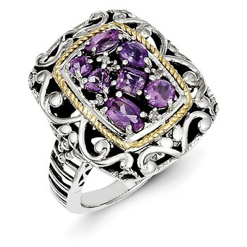Sterling Silver w/14k Diamond & Gemstone Ring