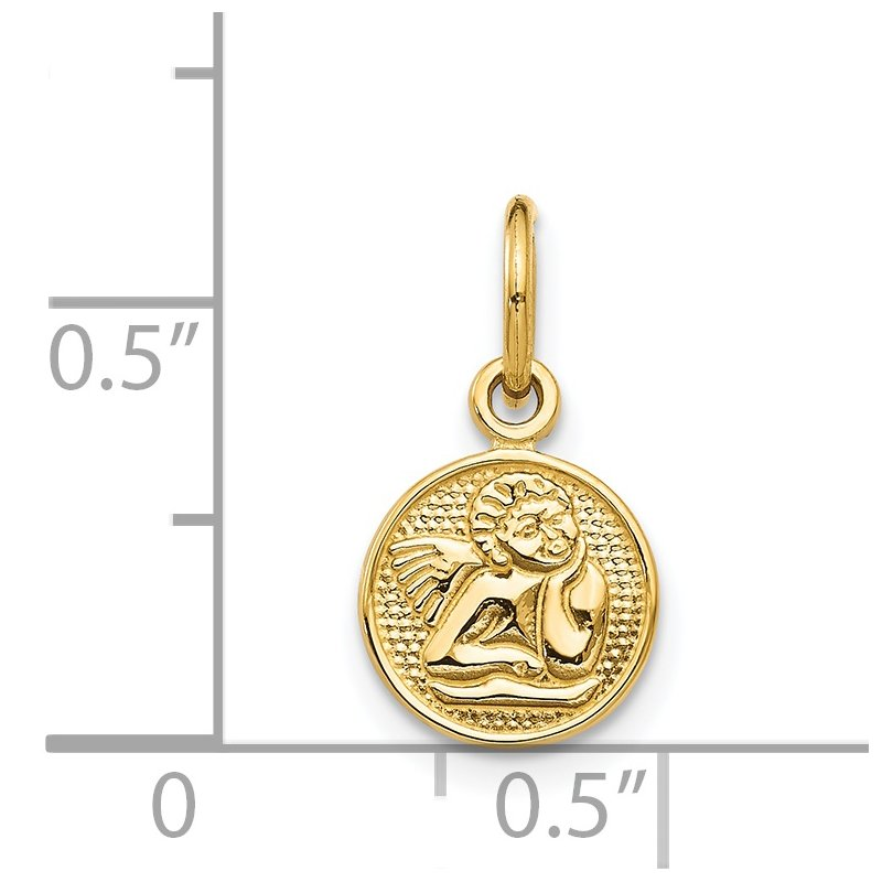 Quality Gold 14k Small Polished Angel Charm