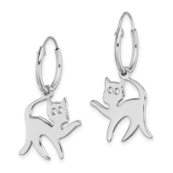 Sterling Silver Rhodium-plated Cat Hoop Earring