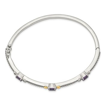 Sterling Silver w/14ky Amethyst Hinged Bangle