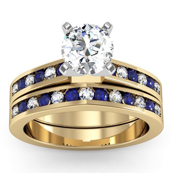 Channel Set Blue Sapphire and Diamond Engagement Ring with Matching Wedding Band