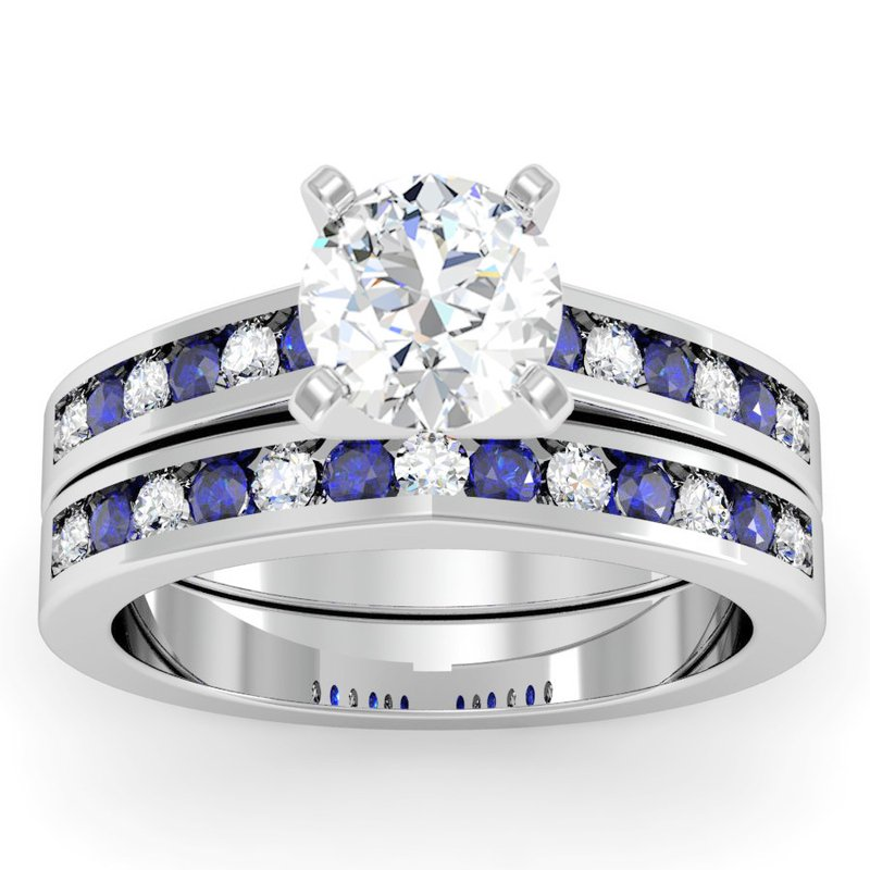J.F. Kruse Signature Collection Channel Set Blue Sapphire and Diamond Engagement Ring with Matching Wedding Band