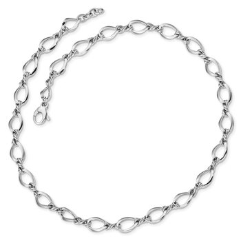 14k White Gold Fancy Link 18in Necklace