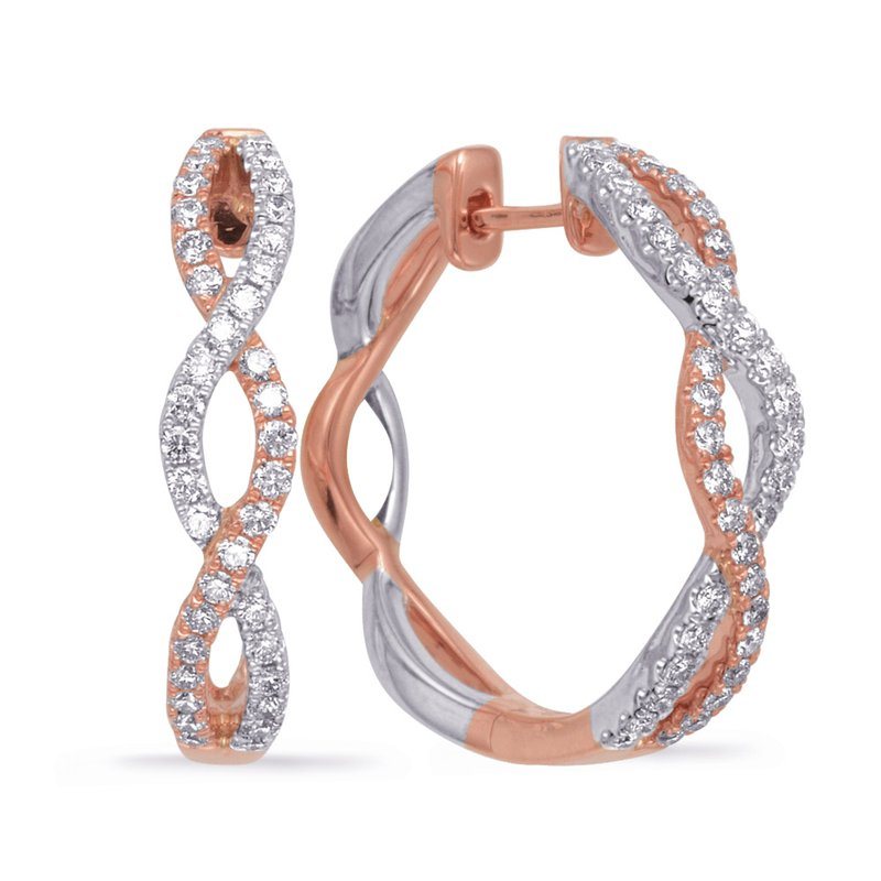 S. Kashi  & Sons Rose & White Gold Diamond Hoop Earring
