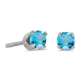 3 mm Petite Round Blue Topaz Screw-back Stud Earrings in 14k White Gold
