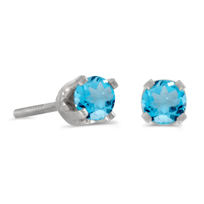 Color Merchants 3 mm Petite Round Blue Topaz Screw-back Stud Earrings in 14k White Gold
