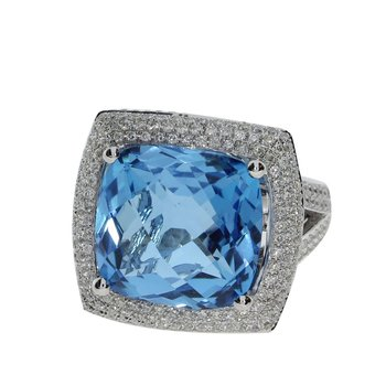 14k White Gold Large Square Blue Topaz And Diamond Ring