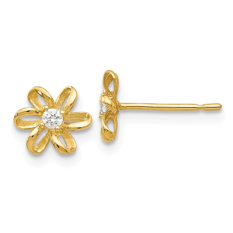 14k Madi K Cz Childrens Flower Post Earrings