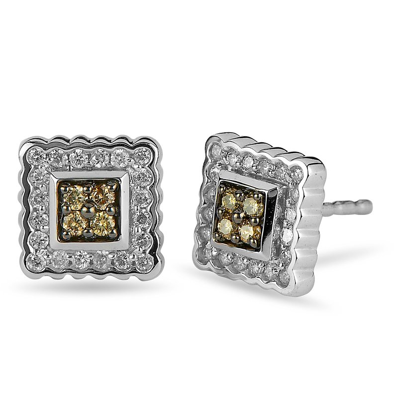 BB Impex 10K WG White and Champagne Diamond Earring