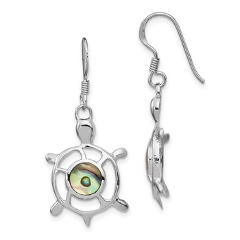 Sterling Silver Rhodium-plated Abalone Turtle Dangle Earrings