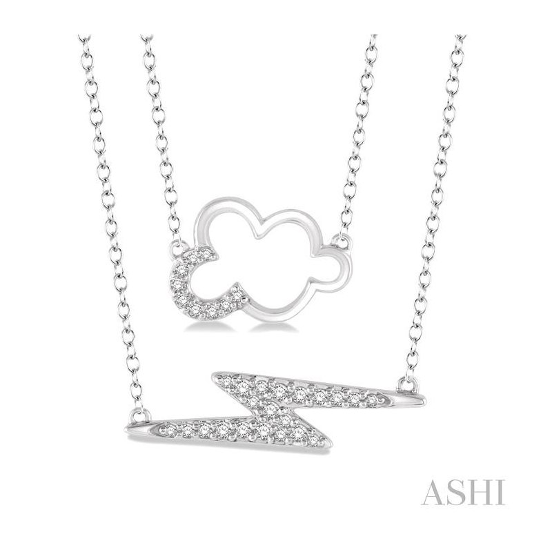 ASHI cloud & lightning layered diamond pendant