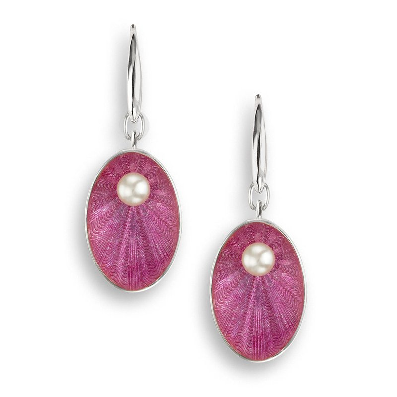 Nicole Barr Designs Pink Oval Wire Earrings.Sterling Silver-Freshwater Pearls