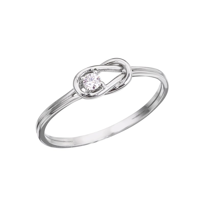 Color Merchants 14K White Gold Boaters Knot Diamond Ring
