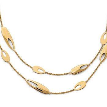 Leslie's 14K Polished Multi-strand w/2in ext. Necklace