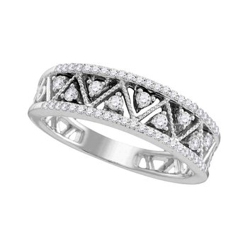 10kt White Gold Womens Round Diamond Geometric Band Ring 1/3 Cttw