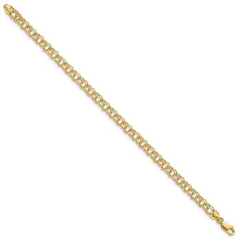 14k 7in 4.75mm Solid Double Link Charm Bracelet