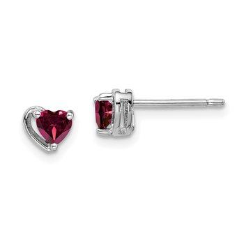 Sterling Silver Rhod-plated Created Ruby Heart Post Earrings