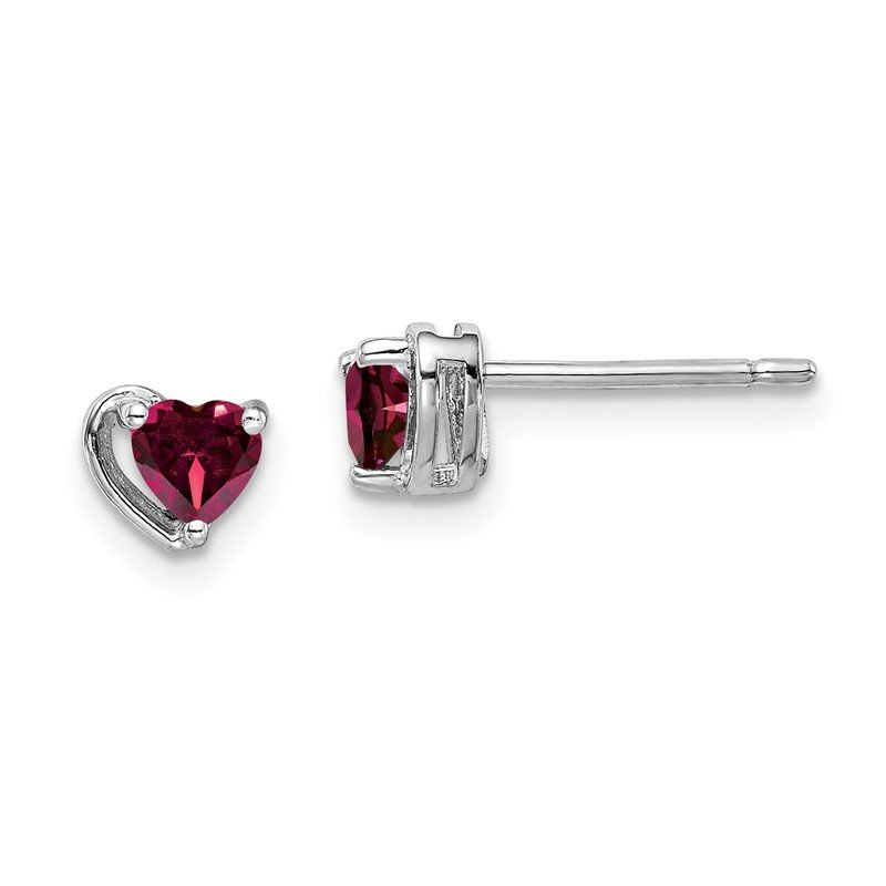 Quality Gold Sterling Silver Rhod-plated Created Ruby Heart Post Earrings