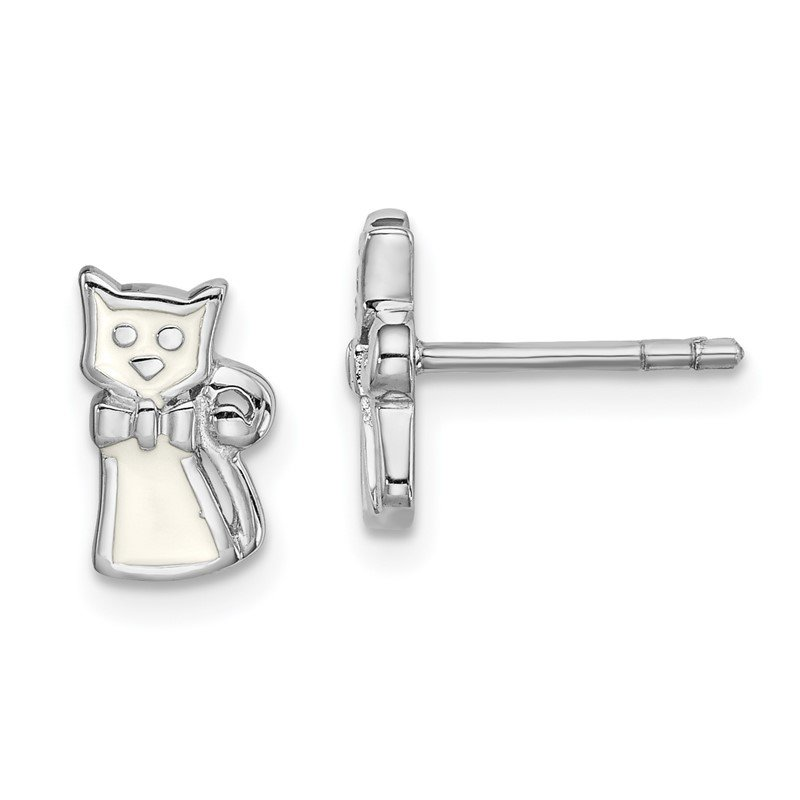 Arizona Diamond Center Collection Sterling Silver Rhodium-plated Childs Enameled White Cat Post Earrings