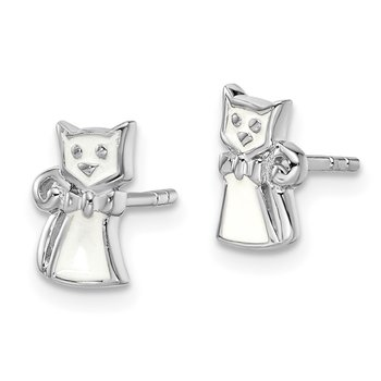 Sterling Silver Rhodium-plated Childs Enameled White Cat Post Earrings