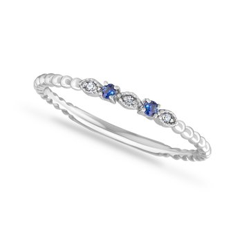 14K BAND WITH 2 SAPPHIRES & 3 DIAMONDS 0.06CT