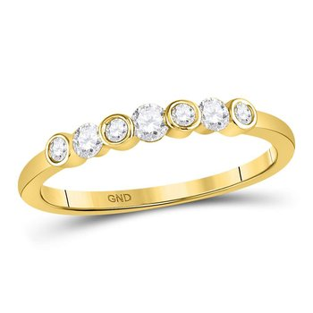10kt Yellow Gold Womens Round Diamond Single Row Bezel Stackable Ring 1/4 Cttw