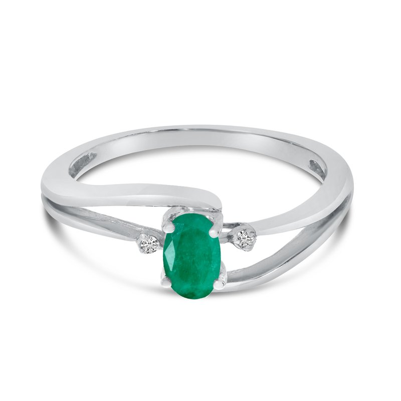Color Merchants 14k White Gold Oval Emerald And Diamond Wave Ring