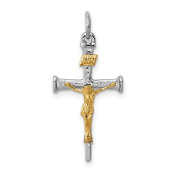 Sterling Silver Rhodium-plated & 18k Gold-plated Crucifix Charm