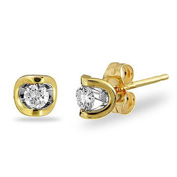 14K YG Diamond 'Moon Shine' Earring TDW 1.00 Cts