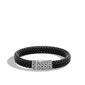 Classic Chain 10.5MM Station Bracelet in Silver and Rubber