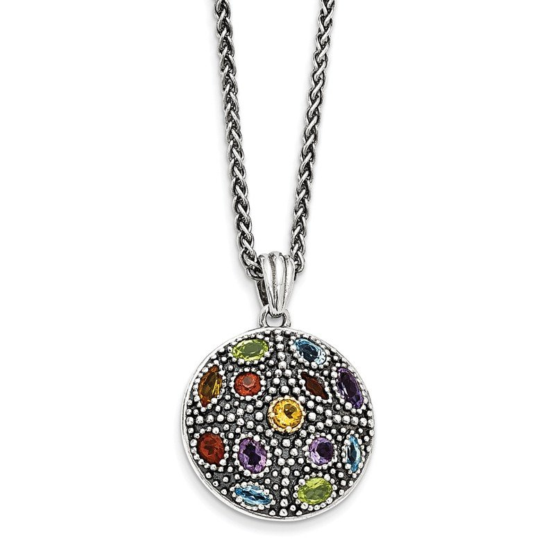 Shey Couture Sterling Silver w/14k Antiqued Multi Gemstone Necklace