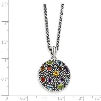 Sterling Silver w/14k Antiqued Multi Gemstone Necklace