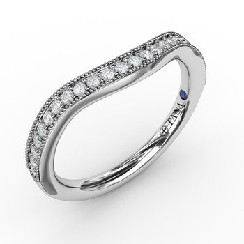 1/5ct Vintage Bead and Channel Set Contour Diamond Band