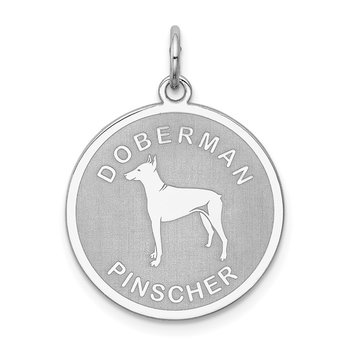 Sterling Silver Rhodium-plated Doberman Pinscher Disc Charm
