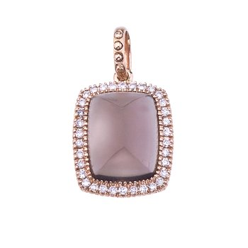 14K Rose Gold Cabochon Smoky Topaz and Diamond Pendant