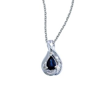 14k White Gold Pear Sapphire and Diamond Pendant