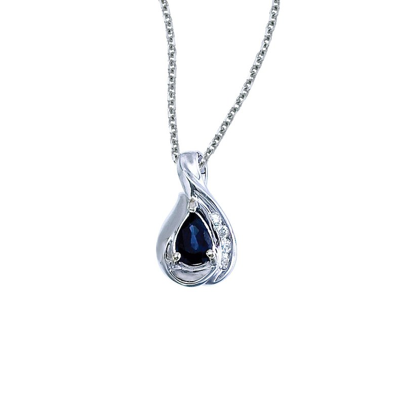 Color Merchants 14k White Gold Pear Sapphire and Diamond Pendant