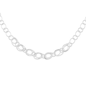 Sterling Silver Polished Fancy Circle 18in Necklace