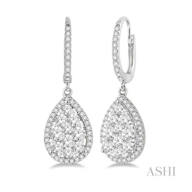 ASHI pear shape lovebright essential diamond earrings